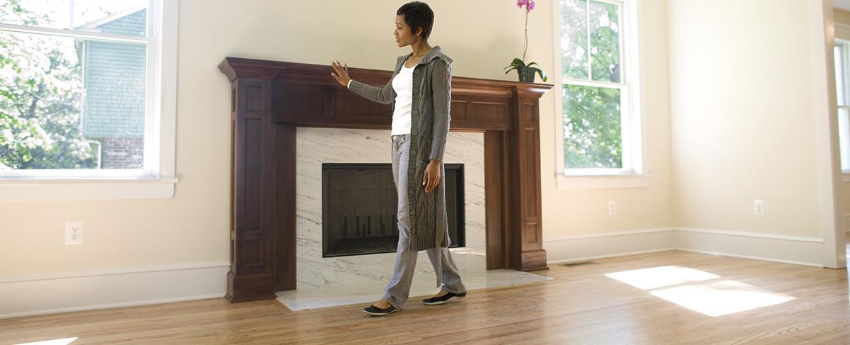 Woman walking through home